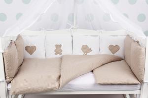 """фото комплекта в кроватку 18 предметов (6+12 бортиков) AmaroBaby КРОХА Premium в цвете """"кофе"""""""
