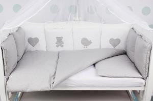 """фото комплекта в кроватку 18 предметов (6+12 бортиков) AmaroBaby КРОХА Premium в цвете """"серый"""""""