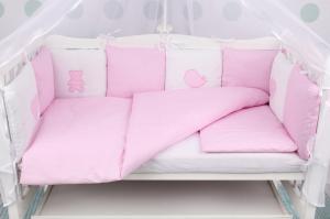 """фото комплекта в кроватку 18 предметов (6+12 бортиков) AmaroBaby КРОХА Premium в цвете """"розовый"""""""