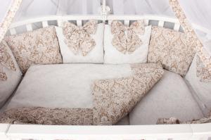 """фото комплекта Premium в кроватку 18 предметов (6+12 бортиков) AmaroBaby ЭЛИТ в цвете """"Кофе"""""""