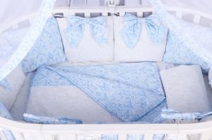 """фото комплекта Premium в кроватку 18 предметов (6+12 бортиков) AmaroBaby ЭЛИТ в цвете """"Голубой"""""""