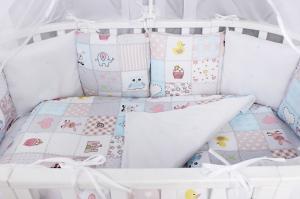 """фото комплекта Premium в кроватку 18 предметов (6+12 бортиков) AmaroBaby НЕЖНОСТЬ в цвете """"Розовый"""""""