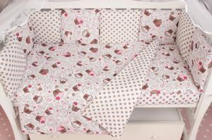 """фото комплекта Premium в кроватку 19 предметов (7+12 подушек-бортиков) AmaroBaby СОНЯ в цвете """"розовый"""""""