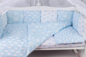 """фото комплекта в кроватку 19 предметов (7+12 бортиков) AmaroBaby ВОЗДУШНЫЙ Premium в цвете """"голубой"""""""