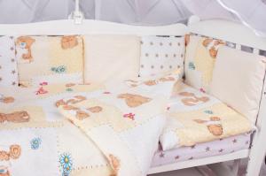"""фото комплекта в кроватку 18 предметов (6+12 подушек-бортиков) AmaroBaby МИШКА в цвете """"бежевый"""""""