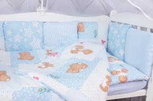 """фото комплекта в кроватку 18 предметов (6+12 подушек-бортиков) AmaroBaby МИШКА в цвете """"голубой"""""""
