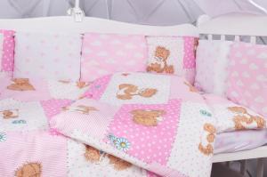 """фото комплекта в кроватку 18 предметов (6+12 подушек-бортиков) AmaroBaby МИШКА в цвете """"розовый"""""""