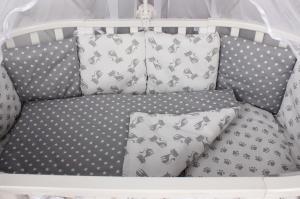 """фото комплекта в кроватку 18 предметов (6+12 подушек-бортиков) AmaroBaby МИМИМИ в цвете """"серый"""""""