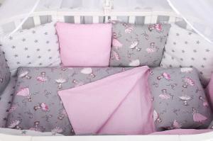 """фото комплекта в кроватку 18 предметов (6+12 подушек-бортиков) AmaroBaby МЕЧТА в цвете """"серый/розовый"""""""