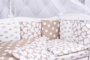 """фото комплекта в кроватку 18 предметов (6+12 подушек-бортиков) AmaroBaby SOFT в цвете """"коричневый"""""""