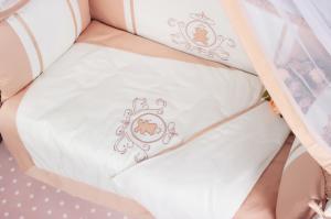 """фото комплекта PREMIUM в кроватку 7-ми предметный AmaroBaby SWEET DREAMS в цвете """"кофе"""""""