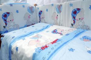 """фото комплекта в кроватку 7-ми предметный Мишкин сон в цвете """"голубой"""""""