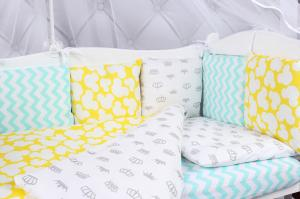 """фото комплекта в кроватку 15 предметов (3+12 подушек-бортиков) AmaroBaby HAPPY BABY в цвете """"мятный/желтый"""""""