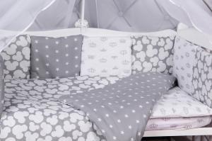 """фото комплекта в кроватку 15 предметов (3+12 подушек-бортиков) AmaroBaby SILVER в цвете """"серый"""""""