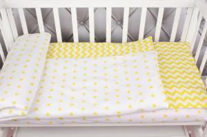 """фото комплекта в кроватку 3 предмета AmaroBaby BABY BOOM в цвете """"Желтый зигзаг"""""""