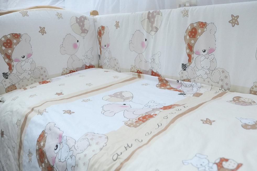 """фото комплекта в кроватку 7-ми предметный Мишкин сон в цвете """"бежевый"""""""
