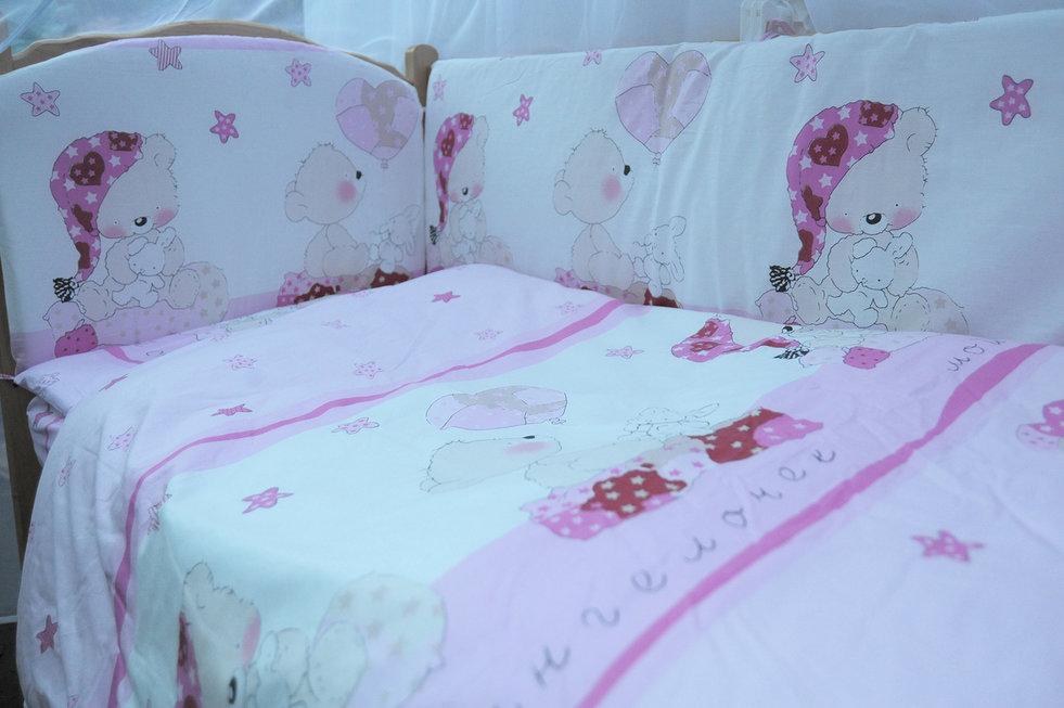 """фото комплекта в кроватку 7-ми предметный Мишкин сон в цвете """"розовый"""""""