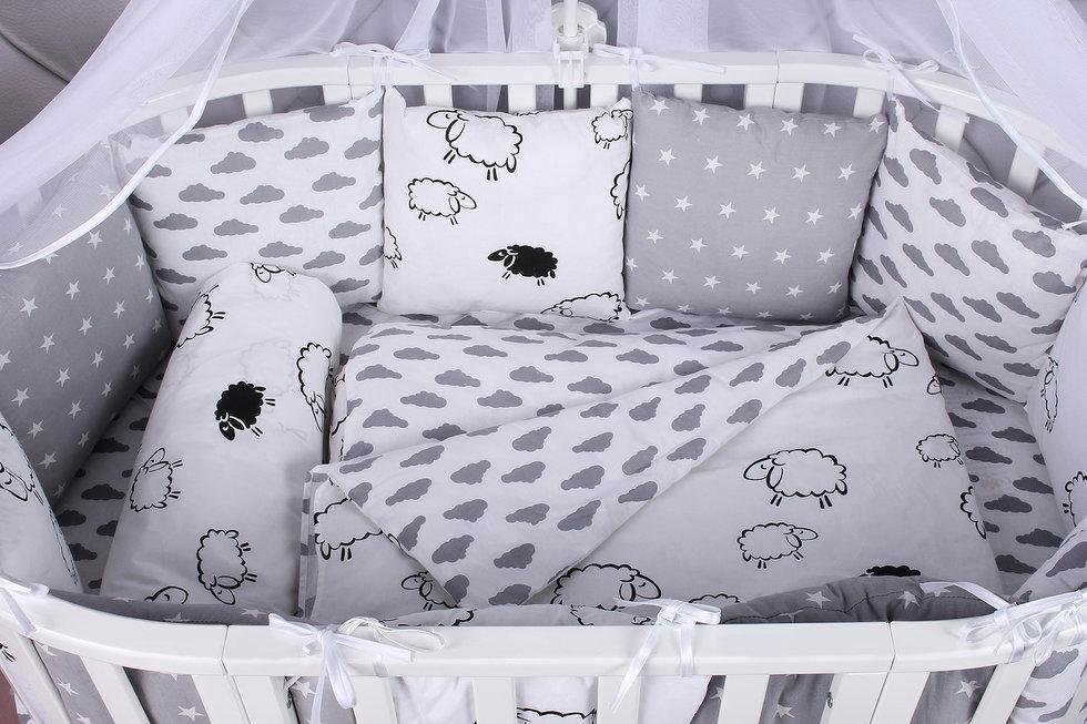 """фото комплекта в кроватку 19 предметов (7+12 подушек-бортиков) AmaroBaby GOOD NIGHT в цвете """"белый/серый"""""""