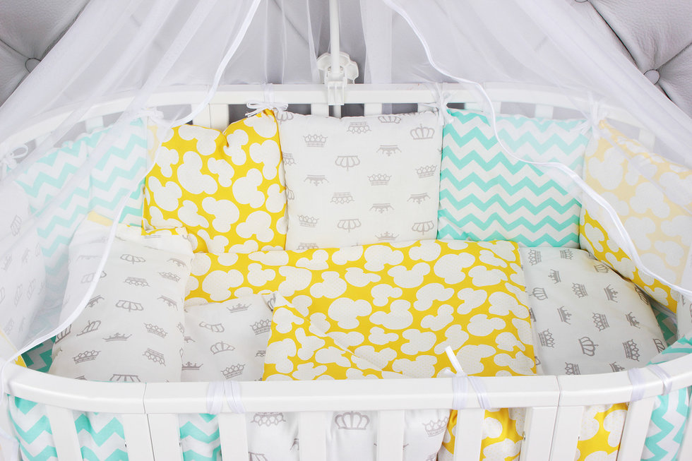 """фото комплекта в кроватку 19 предметов (7+12 подушек-бортиков) AmaroBaby HAPPY BABY в цвете """"мятный/желтый"""""""
