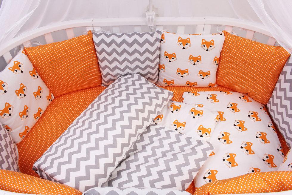 """фото борта Бонбон в кроватку 12 предметов (12 подушек-бортиков) AmaroBaby LUCKY в цвете """"оранжевый"""""""