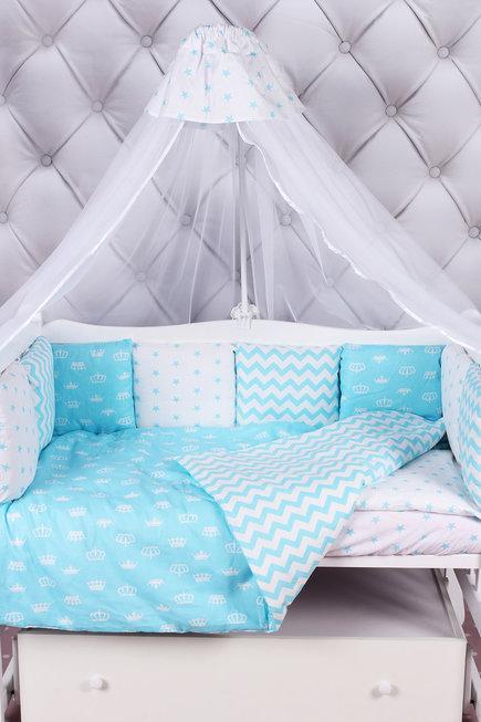 """фото комплекта в кроватку 15 предметов (3+12 подушек-бортиков) AmaroBaby ROYAL BABY в цвете """"бирюза"""""""