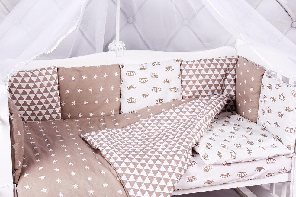 """фото комплекта в кроватку 15 предметов (3+12 подушек-бортиков) AmaroBaby ROYAL BABY в цвете """"коричневый"""""""