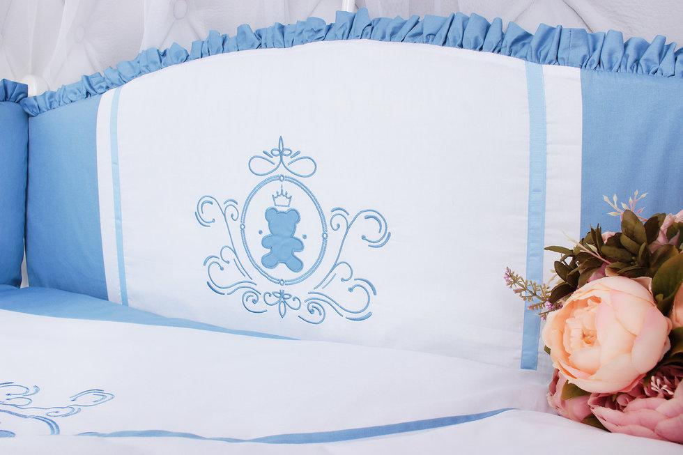"""фото комплекта PREMIUM в кроватку 7-ми предметный AmaroBaby SWEET DREAMS в цвете """"голубой"""""""