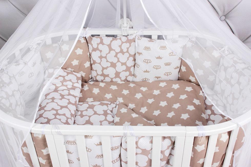 """фото комплекта в кроватку 19 предметов (7+12 подушек-бортиков) AmaroBaby SOFT Premium в цвете """"коричневый"""""""