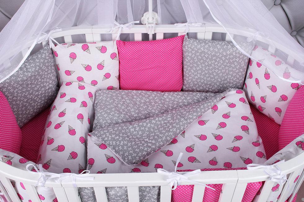 """фото борта Бонбон в кроватку 12 предметов (12 подушек-бортиков) AmaroBaby SWEET в цвете """"малиновый/белый"""""""