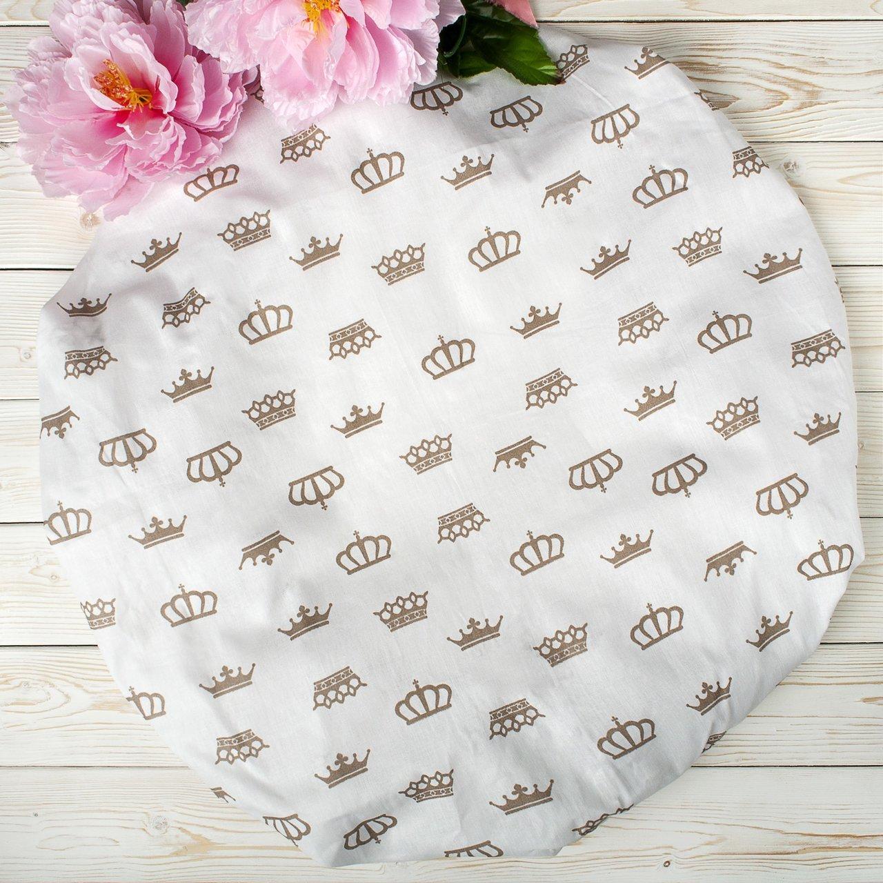 """фото простыни AmaroBaby на резинке круглая 75х75х12 бязь в цвете """"Короны кофе"""""""