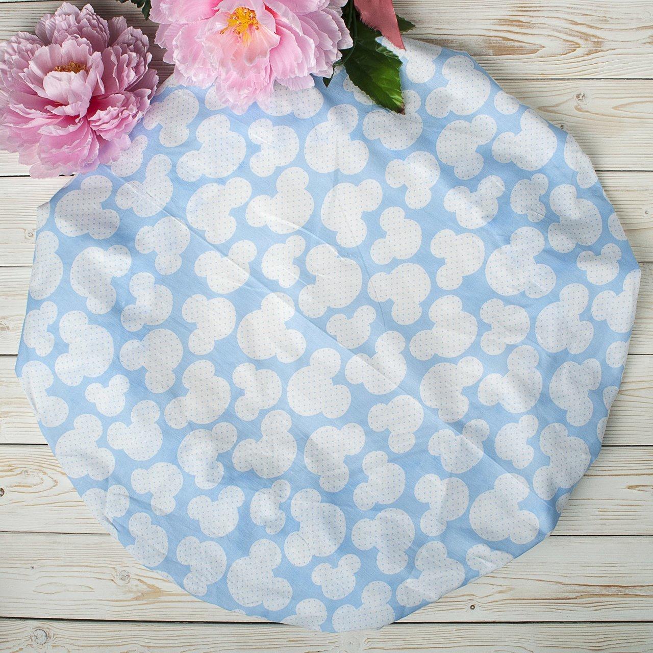 """фото простыни AmaroBaby на резинке круглая 75х75х12 бязь в цвете """"Мышонок голубой"""""""