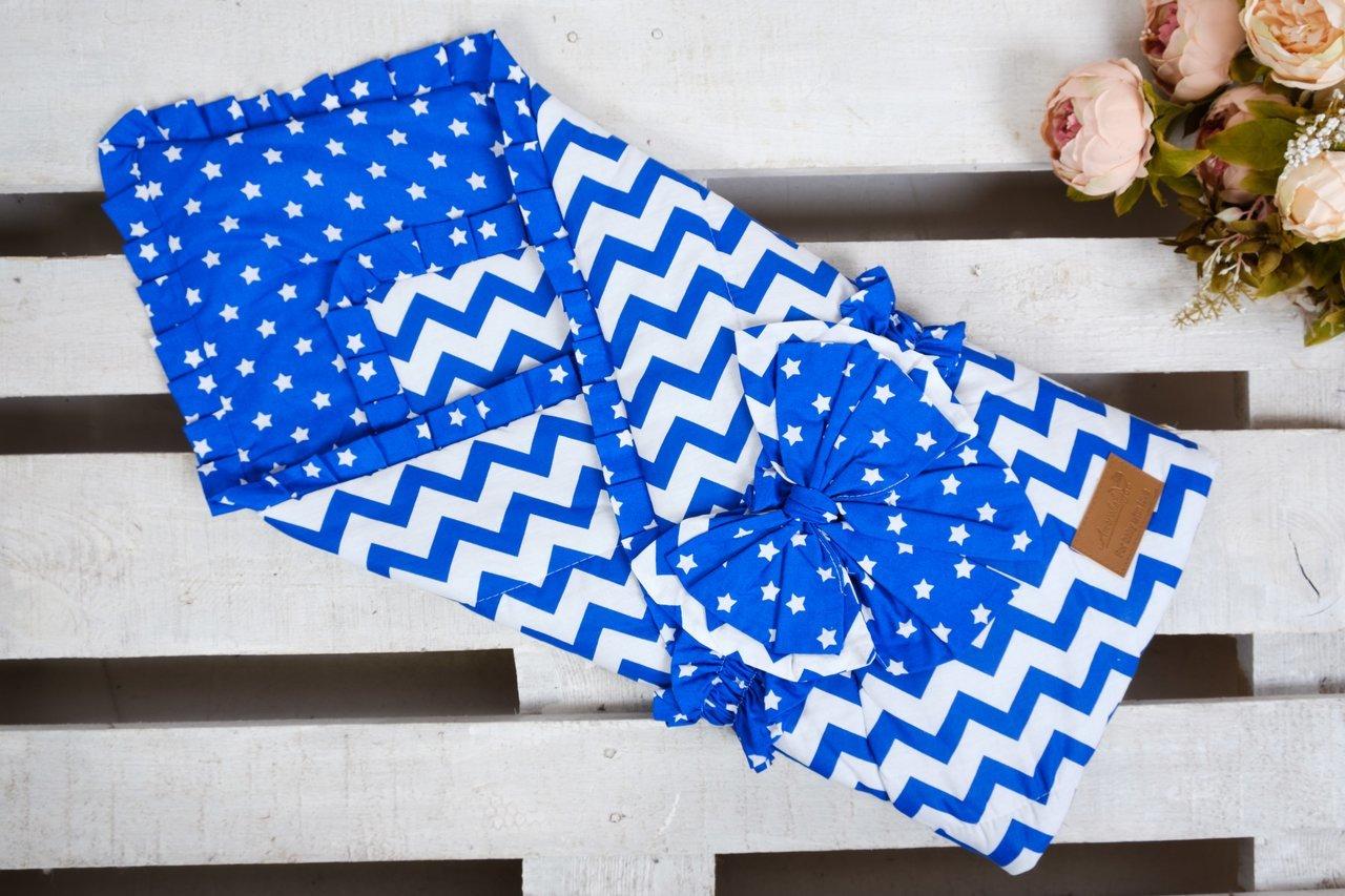 фото одеяла на выписку AmaroBaby Zig Zag в цвете Синий