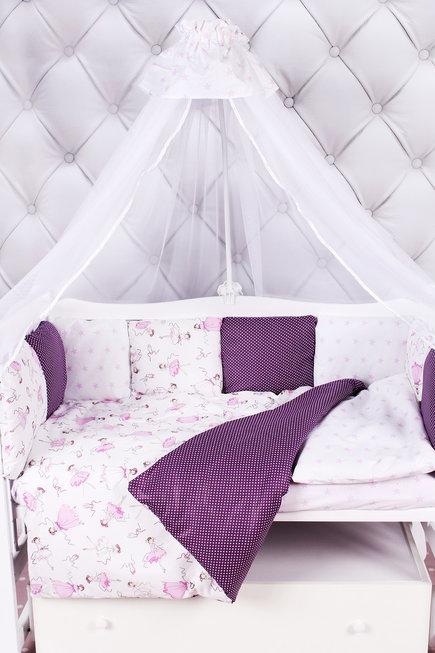 """фото комплекта в кроватку 18 предметов (6+12 подушек-бортиков) AmaroBaby АМЕЛИ в цвете """"вишня/белый"""""""