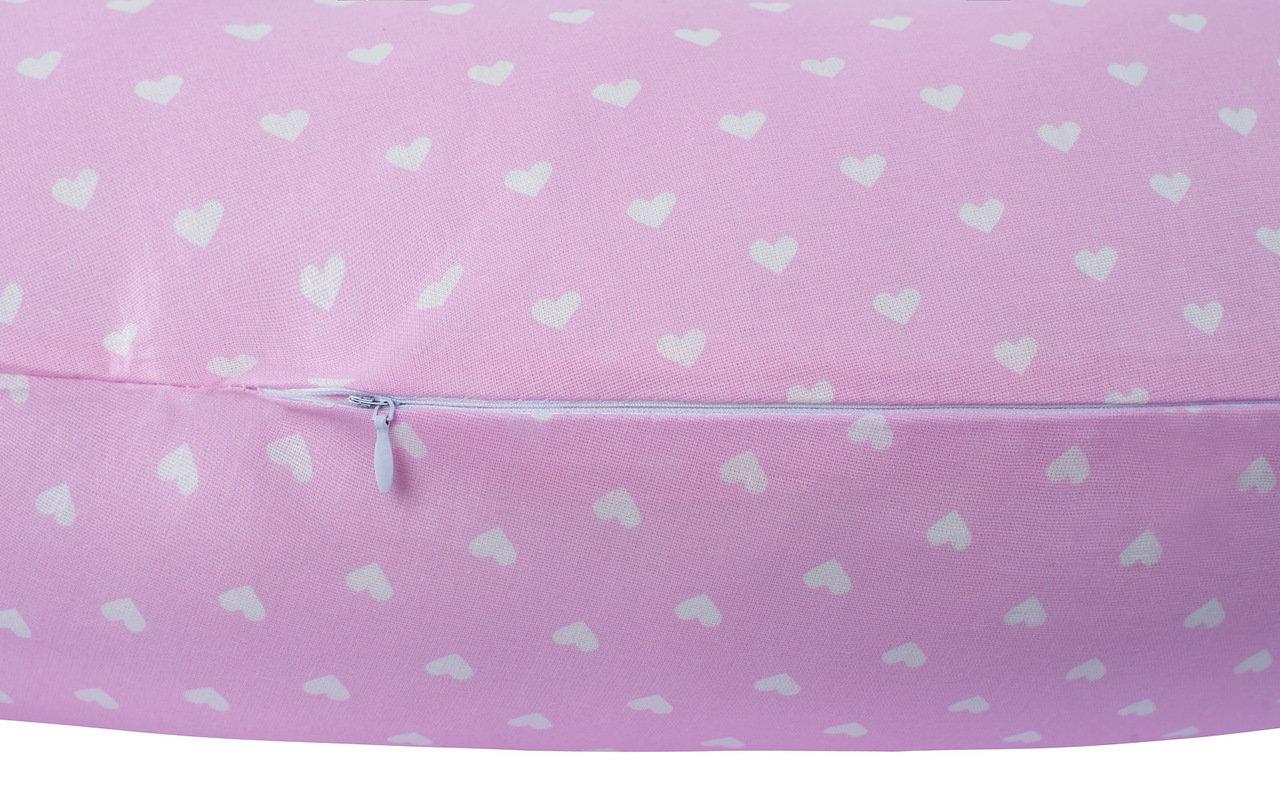 """фото подушки для беременных AmaroBaby 170х25 в цвете """"Сердечки розовые"""""""