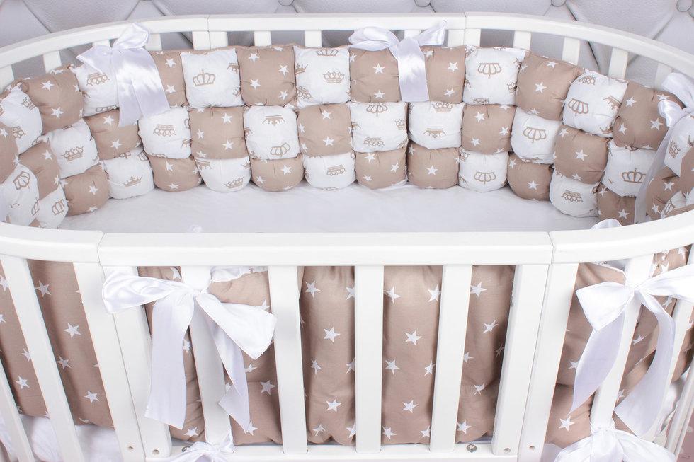 """фото борта Бонбон в кроватку 6 предметов (6 подушек-бортиков) AmaroBaby Royal care в цвете """"коричневый"""""""