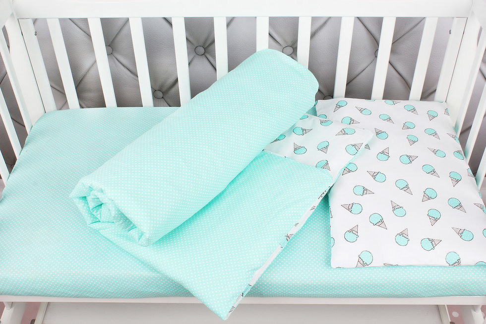 """фото комплекта в кроватку 3 предмета AmaroBaby BABY BOOM в цвете """"Мороженки/мята"""""""