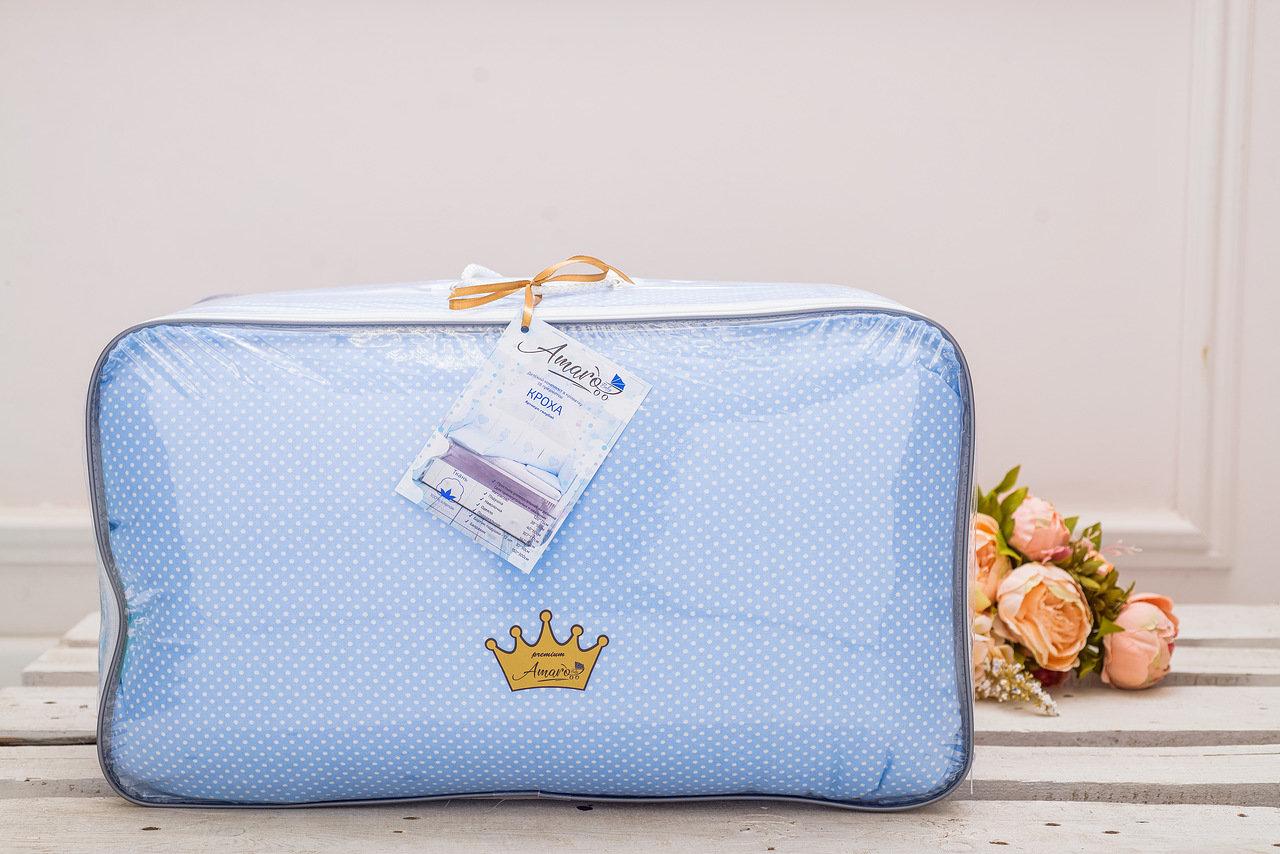 фото комплекта в кроватку 18 предметов (6+12 бортиков) AmaroBaby КРОХА Premium (голубой)