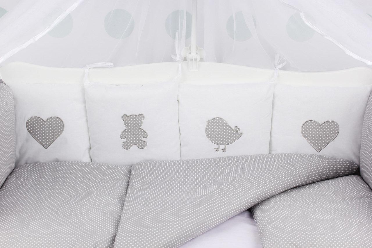 фото комплекта в кроватку 18 предметов (6+12 бортиков) AmaroBaby КРОХА Premium (серый)