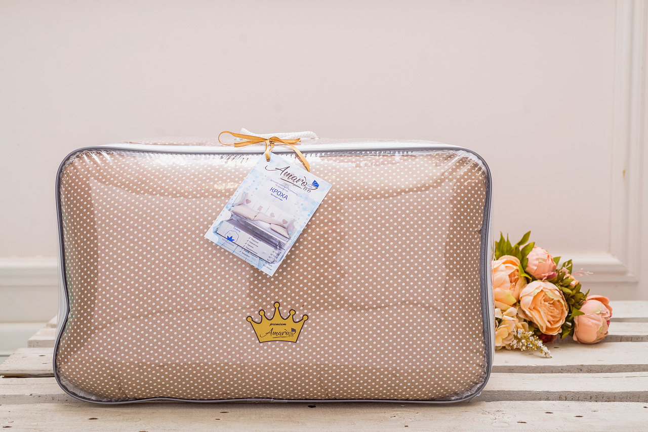фото комплекта в кроватку 18 предметов (6+12 бортиков) AmaroBaby КРОХА Premium (кофе)