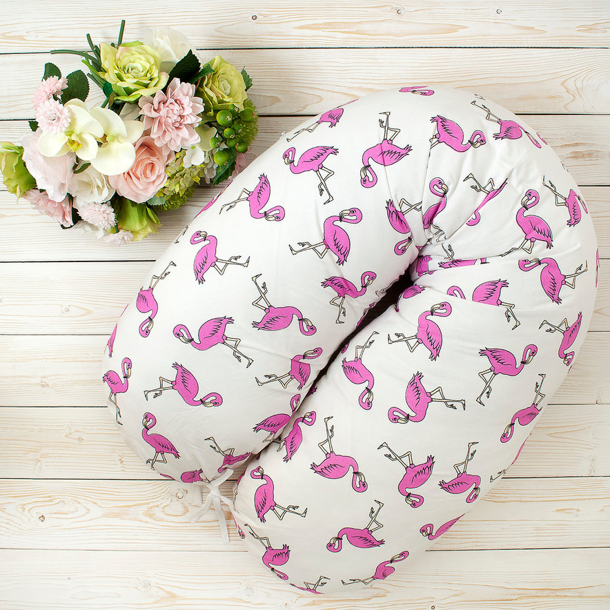"""фото подушки для беременных AmaroBaby 170х25 в цвете """"Фламинго"""""""