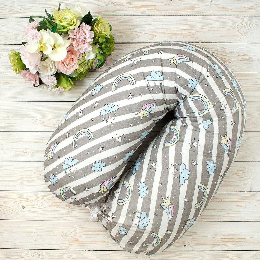 """фото подушки для беременных AmaroBaby 170х25 в цвете """"Радуга"""""""