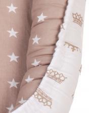 Позиционер для сна AmaroBaby кокон-гнездышко, LITTLE BABY коричневый/звезды