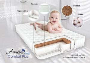 Amaro Baby со съемным чехлом, Comfort Plus 1200 x 600 х 120 (10мм - бикокос, 110 мм - холлокон, аэрофайбер, хлопок)