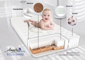 Матрас Amaro Baby со съемным чехлом, Ecco Sleep 1200 x 600 х 120 (40мм - бикокос, 80 мм - холлокон, аэрофайбер, хлопок)