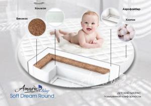 Матрас Amaro Baby со съемным чехлом, Soft Dream Round 750 x 750 х 100 (10мм - бикокос, 80 мм - холлокон, аэрофайбер, хлопок)