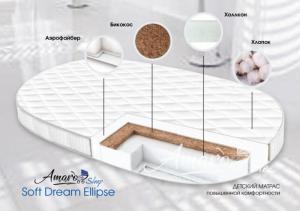 фото матраса Amaro Baby со съемным чехлом, Soft Dream Ellipse 1250 x 750 х 100 (10мм - бикокос, 80 мм - холлокон, аэрофайбер, хлопок)