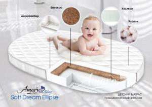 Матрас Amaro Baby со съемным чехлом, Soft Dream Ellipse 1250 x 750 х 100 (10мм - бикокос, 80 мм - холлокон, аэрофайбер, хлопок)