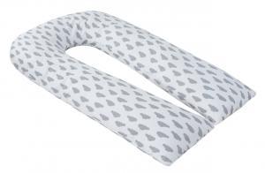"""фото подушки для беременных AmaroBaby U-образная 340х35 в цвете """"Облака вид серый"""""""