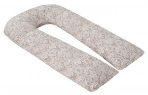 """фото наволочки к подушке для беременных AmaroBaby U-образная 340х35 в цвете """"Дамаск кофе"""""""