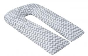 """фото наволочки к подушке для беременных AmaroBaby U-образная 340х35 в цвете """"Зигзаг вид серый"""""""